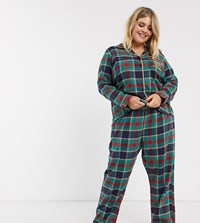 Chelsea Peers Plus Size Check Printed Pyjama With Embroidered Slogan Pocket Green