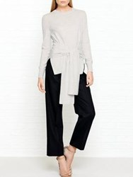 Whistles Tie Front Long Sleeve Knitted Top Grey
