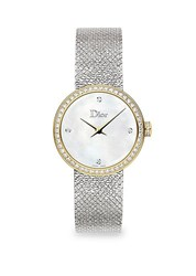 Christian Dior La D De 25Mm White And Gold Satine Watch