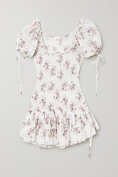 Loveshackfancy Aerin Violet Floral Print Shirred Cotton Voile Mini Dress White