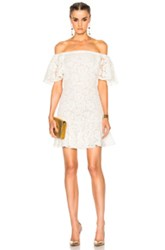 Valentino Heavy Lace Off The Shoulder Dress In White