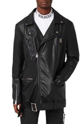 Topman Aaa Collection Longline Faux Leather Biker Jacket Black