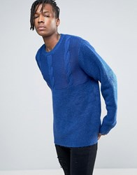 Cheap Monday Deprived Knit Half Cable Jumper Royal Blue