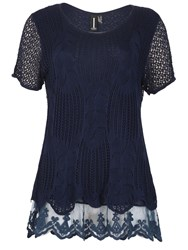 Izabel London Crochet Style Feature Hem Top Navy