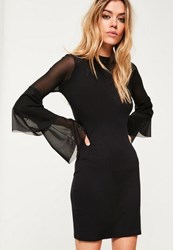 Missguided Black Mesh Frill Sleeve Bodycon Dress