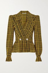 Alessandra Rich Double Breasted Crystal Embellished Houndstooth Silk Blouse Yellow