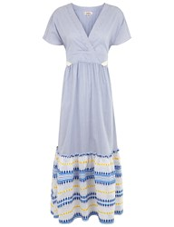 Lemlem Blue And White Stripe Mwali Long Dress