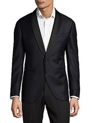 Lubiam Wool Polka Dot Dinner Jacket Navy