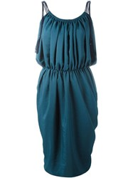 Lanvin Draped Sleeveless Dress Blue