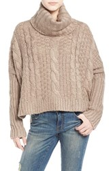 Junior Women's Dreamers By Debut Cable Knit Turtleneck Sweater Mocha