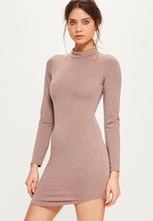 Missguided Pink Marl Curve Hem High Neck Bodycon Dress Mauve