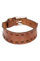 John Varvatos Leather Interlay Perf Cuff Bracelet Brown