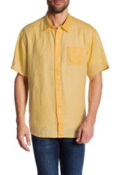 Tommy Bahama Sea Glass Breezer Linen Short Sleeve Relaxed Fit Shirt Yellow