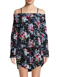 Green Dragon Floral Off The Shoulder Tunic Cover Up Multi