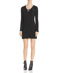 Red Haute Lace Up Eyelet Trim Dress Black