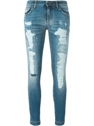 Dolce And Gabbana Distressed Skinny Jeans Blue