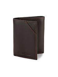 Robert Graham Logo Detailed Textured Leather Wallet Brown