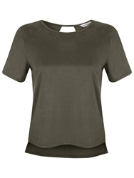 Miss Selfridge Suedette T Shirt Khaki