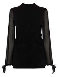 Coast Elizabeth Sheer Sleeve Knitted Top Black