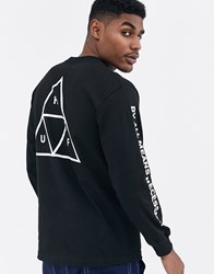 Huf Essentials Triple Triangle Long Sleeve T Shirt With Arm And Back Print In Black
