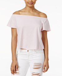 Guess Amore Printed Off The Shoulder Top Pale Lilac