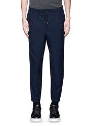 Mcq By Alexander Mcqueen Contrast Back Wool Jogging Pants Blue Multi Colour