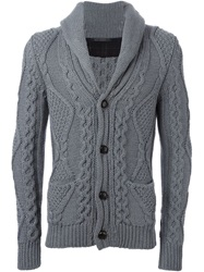 Roberto Collina Cable Knit Cardigan Grey