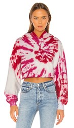 Lovers Friends Tie Dye Crop Hoodie In Pink. Pink Swirl