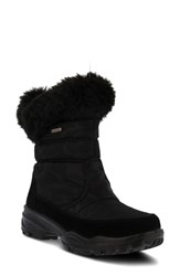 Spring Step Korine Waterproof Faux Fur Bootie Black Fabric