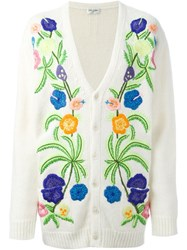 Saint Laurent Floral Embroidered Cardigan White