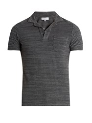 Orlebar Brown Cotton Terry Towelling Polo Shirt Grey