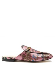 Gucci Princetown Jacquard Backless Loafers Pink