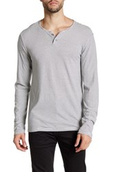 Velvet By Graham And Spencer Striped Long Sleeve Henley Gray