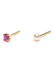 Wouters And Hendrix Gold 'Pearl And Ruby' Set Of Earrings Metallic