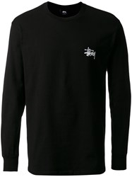 Stussy Logo Print Longsleeved T Shirt Men Cotton Xl Black