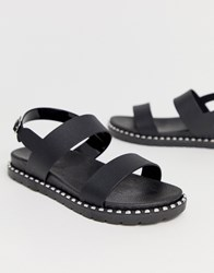 London Rebel Chunky Studded Jelly Sandal Black