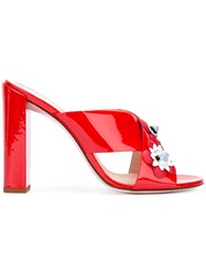 Fendi Floral Heeled Mules Patent Leather Leather Metal Other Red