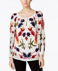 Chelsea And Theodore Embroidered Peasant Blouse Ivory Multi Combo