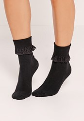 Missguided Frill Ankle Socks Black