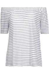 Splendid Off The Shoulder Striped Stretch Jersey Top White