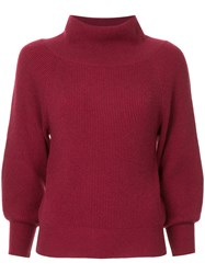 Ryan Roche Off Shoulder Sweater Red