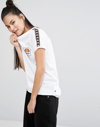 Ellesse Retro Fitted T Shirt With Tape Detail White