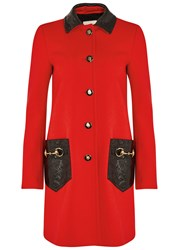Gucci Red Leather Trimmed Wool Coat