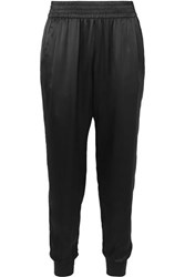 Cami Nyc The Sadie Silk Charmeuse Tapered Track Pants Black