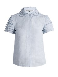 Jupe By Jackie Wrinkler Micro Check Linen Shirt Light Blue