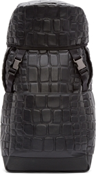 Ktz Black Croc Embossed Flight Backpack