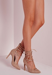 Missguided Lace Up Stiletto Heeled Shoes Nude Beige