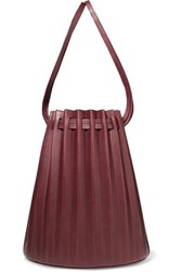 Mansur Gavriel Pleated Leather Bucket Bag Burgundy