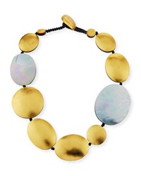 Viktoria Hayman Single Strand Disc Necklace Gray Yellow