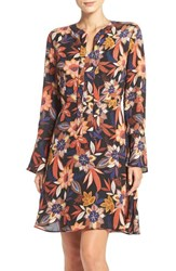 Eci Women's Floral Print Tie Neck Shift Dress